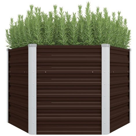 Garden Planter Brown 129x129x77 cm Galvanised Steel
