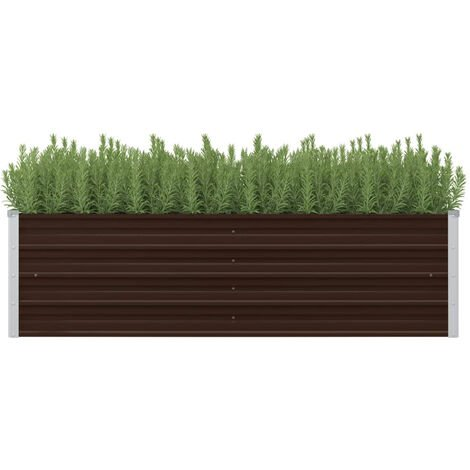 Garden Planter Brown 160x40x45 cm Galvanised Steel