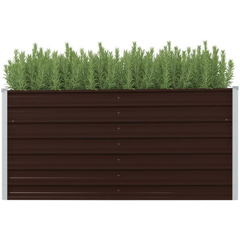 Garden Planter Brown 160x40x77 cm Galvanised Steel