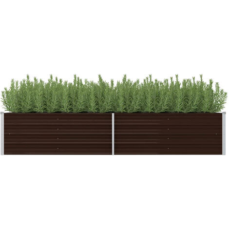 Garden Planter Brown 240x80x45 cm Galvanised Steel