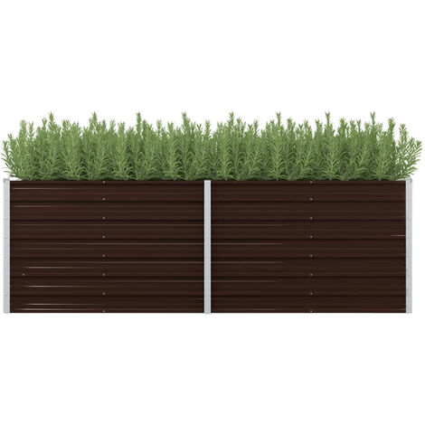 Garden Planter Brown 240x80x77 cm Galvanised Steel