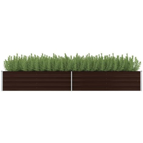 Garden Planter Brown 320x80x45 cm Galvanised Steel