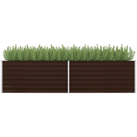 Garden Planter Brown 320x80x77 cm Galvanised Steel