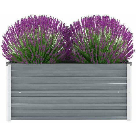 Garden Planter Galvanised Steel 100x40x45 cm Grey