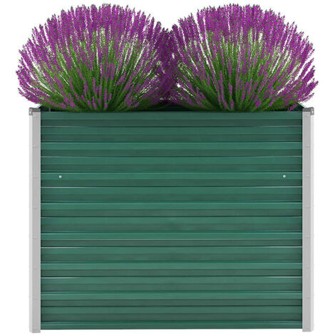 Garden Planter Galvanised Steel 100x40x77 cm Green