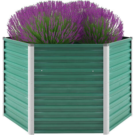 Garden Planter Galvanised Steel 129x129x77 cm Green