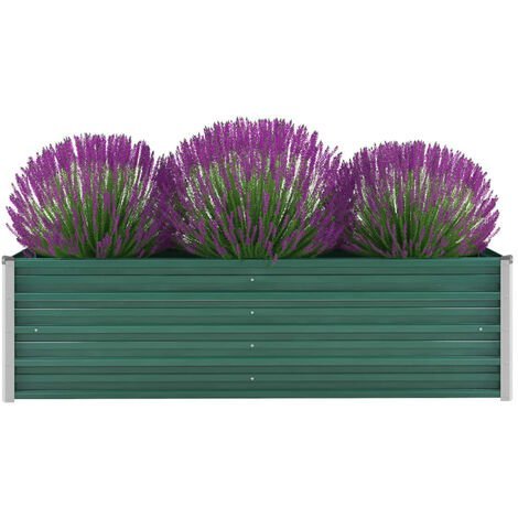 Garden Planter Galvanised Steel 160x40x45 cm Green