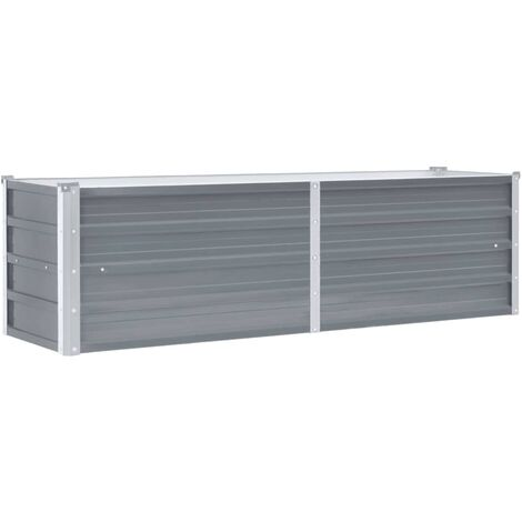 Garden Planter Galvanised Steel 160x40x45 cm Grey