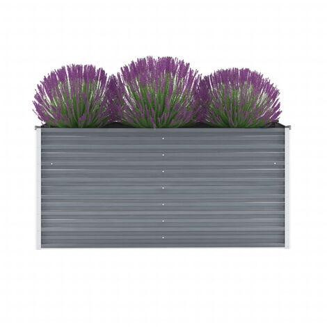 Garden Planter Galvanised Steel 160x40x77 cm Grey