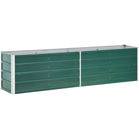 Garden Planter Galvanised Steel 240x40x45 cm Green