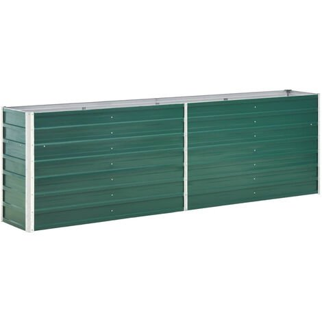 Garden Planter Galvanised Steel 240x40x77 cm Green