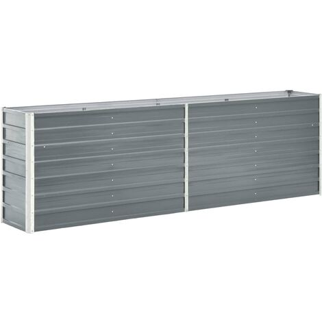 Garden Planter Galvanised Steel 240x40x77 cm Grey