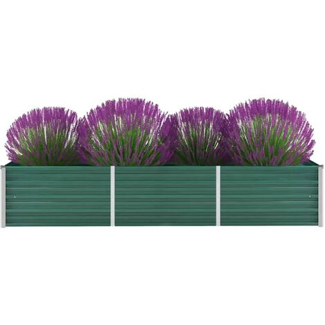 Garden Planter Galvanised Steel 240x80x45cm Green