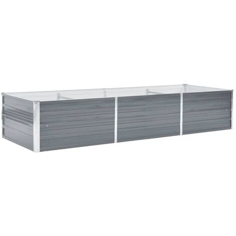 Garden Planter Galvanised Steel 240x80x45cm Grey