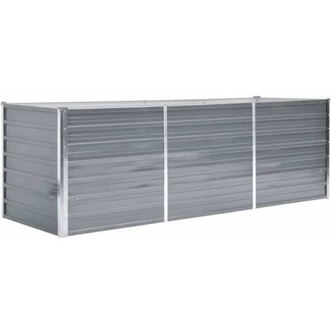 Garden Planter Galvanised Steel 240x80x77cm Grey