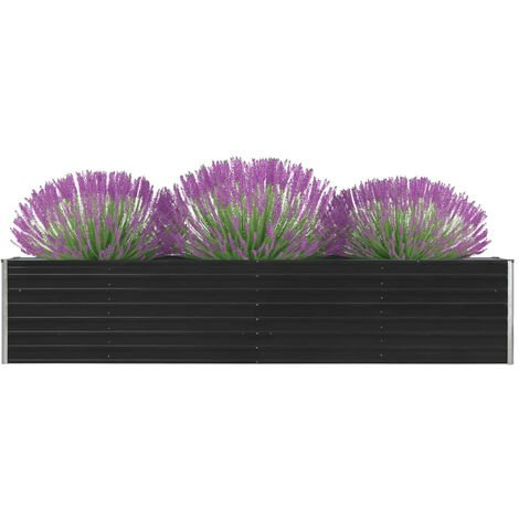 Garden Planter Galvanised Steel 320x40x45 cm Anthracite
