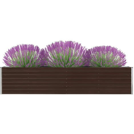 Garden Planter Galvanised Steel 320x40x45 cm Brown