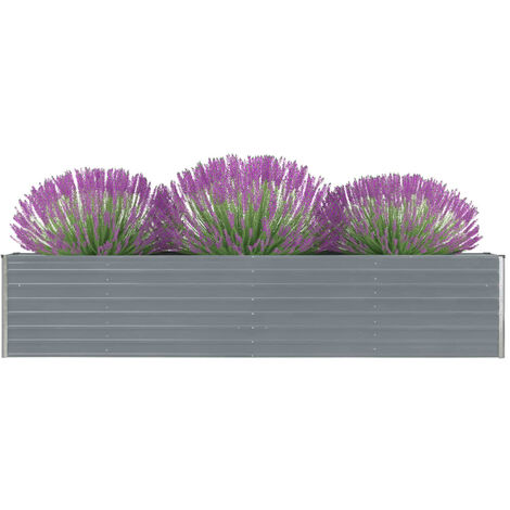 Garden Planter Galvanised Steel 320x40x45 cm Grey