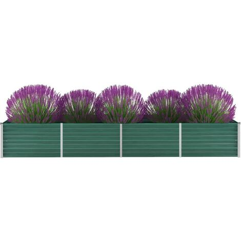 Garden Planter Galvanised Steel 320x80x45cm Green