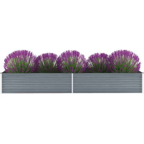Garden Planter Galvanised Steel 320x80x45cm Grey