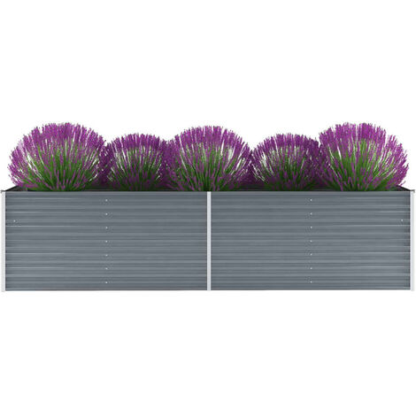 Garden Planter Galvanised Steel 320x80x77cm Grey