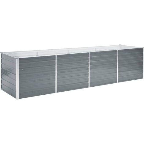 Garden Planter Galvanised Steel 320x80x77cm Grey