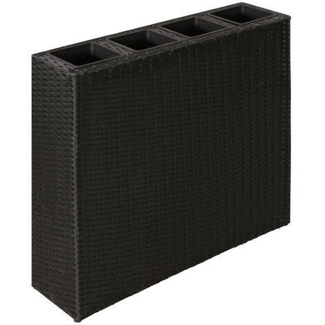 Garden Planter with 4 Pots Poly Rattan Black