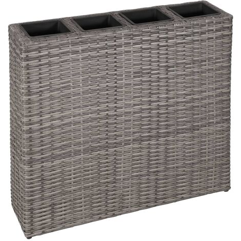 Garden Planter with 4 Pots Poly Rattan Grey