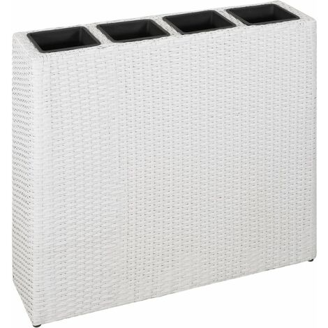 Garden Planter with 4 Pots Poly Rattan White