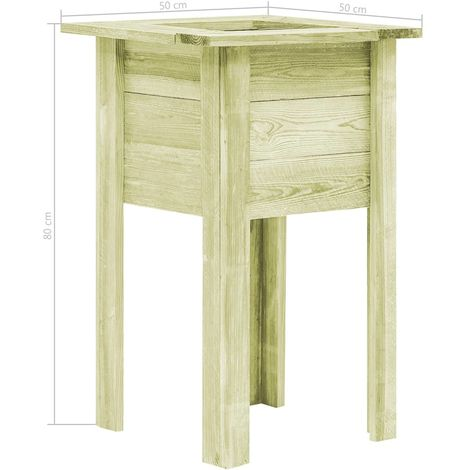 Garden Planter with Feet 50x50x80 cm FSC Impregnated Sawn Wood