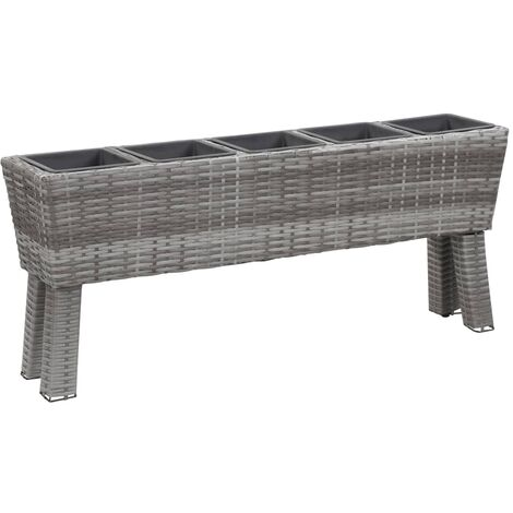 Garden Raised Bed with Legs and 5 Pots 118x25x50 cm Poly Rattan Grey