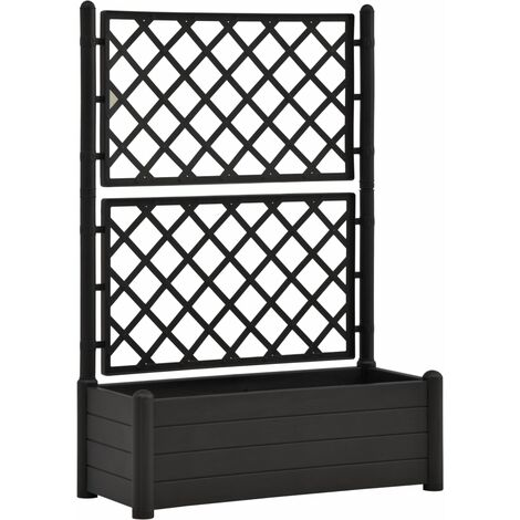Garden Planter with Trellis 100x43x142 cm PP Anthracite