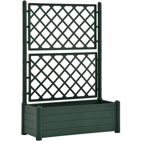 Garden Planter with Trellis 100x43x142 cm PP Green