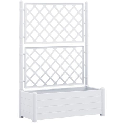 Garden Planter with Trellis 100x43x142 cm PP White