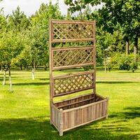 Garden Planter with Trellis Bamboo 70 cm