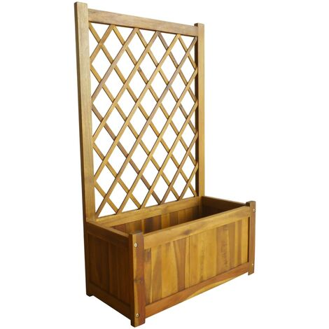 Garden Planter with Trellis Solid Acacia Wood