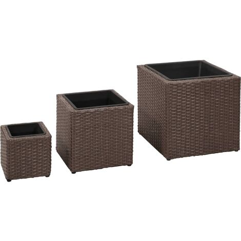 Garden Planters 3 pcs Poly Rattan Brown
