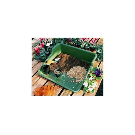 Garden Plastic Potting Plant Tray - Tidy Garden or Greenhouse - Green