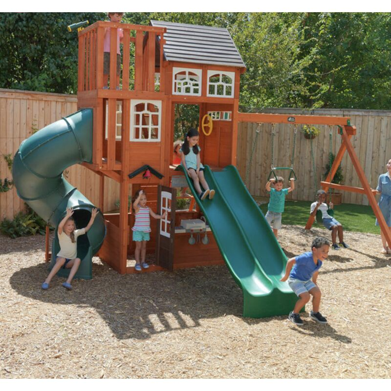 Garden Play Centre Outdoor Wooden Playhouse Large Tree House ...
