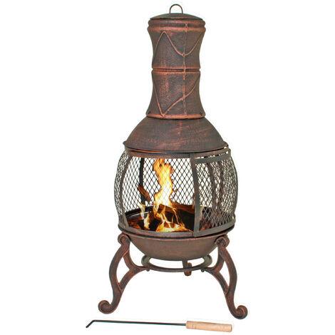 Garden Pleasure Poêle en fonte d'acier cheminée extérieur brasero avec gril - diamètre 50 cm x hauteur 90 cm