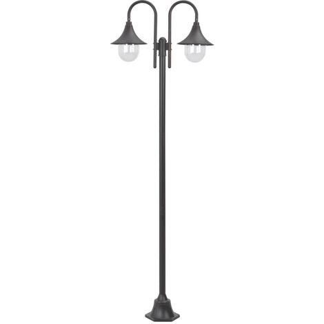 Garden Post Light E27 220 cm Aluminium 2-Lantern Bronze