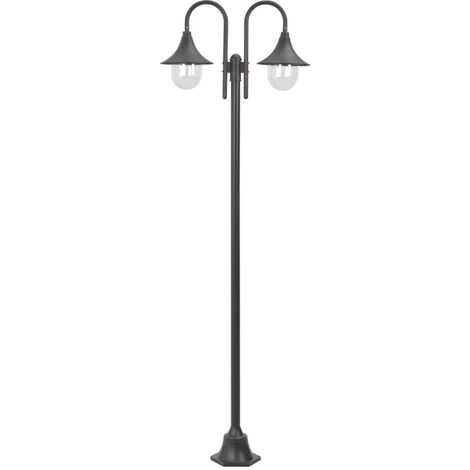 Garden Post Light E27 220 cm Aluminium 2-Lantern Bronze