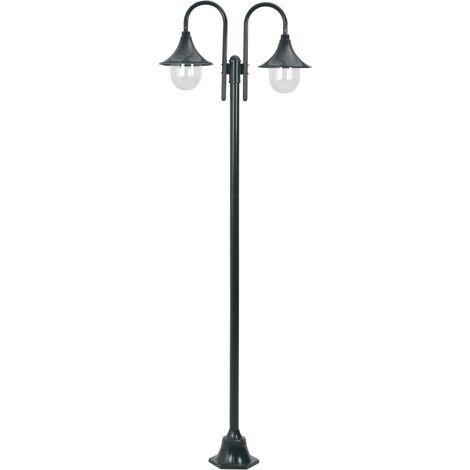 Garden Post Light E27 220 cm Aluminium 2-Lantern Dark Green - Green