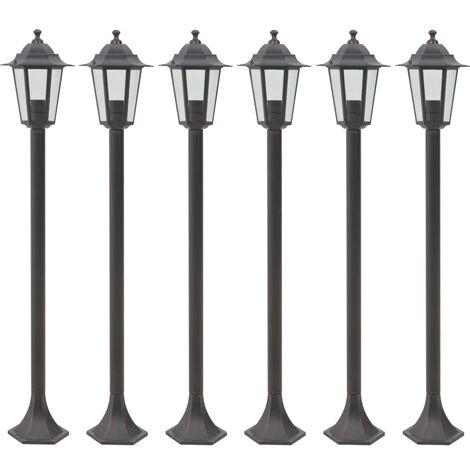 Garden Post Lights 6 pcs E27 110 cm Aluminium Bronze - Brown