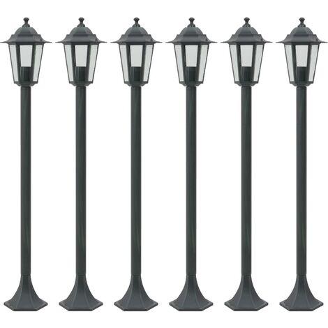 Garden Post Lights 6 pcs E27 110 cm Aluminium Dark Green