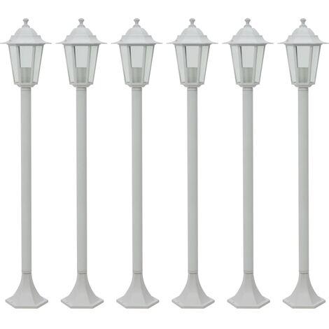 Garden Post Lights 6 pcs E27 110 cm Aluminium White