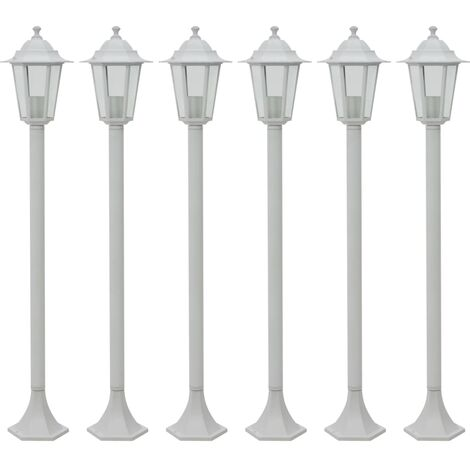 Garden Post Lights 6 pcs E27 110 cm Aluminium White - White