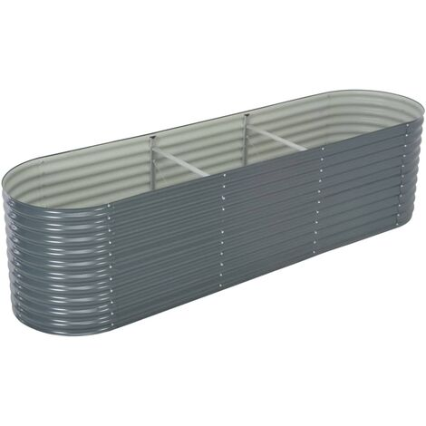 Garden Raised Bed 320x80x81 cm Galvanised Steel Grey