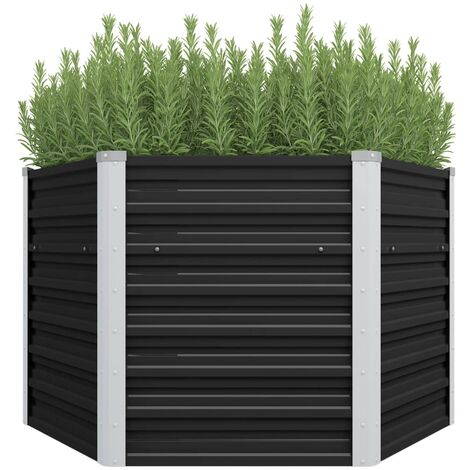 Garden Raised Bed Anthracite 129x129x77 cm Galvanised Steel