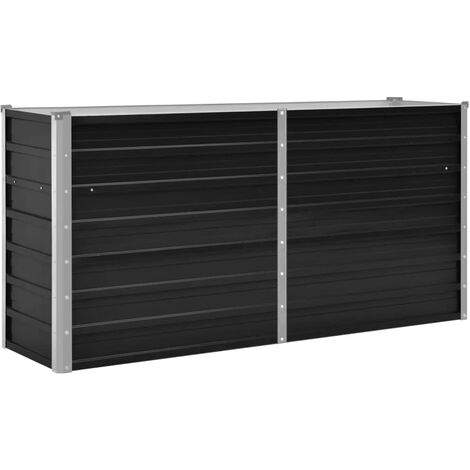 Garden Raised Bed Anthracite 160x40x77 cm Galvanised Steel